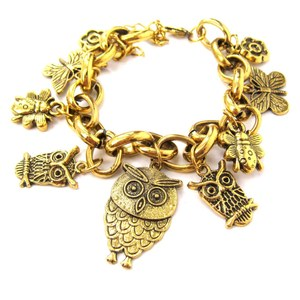 Unique Owl Bird Shaped Animal Charm Bracelet in Gold