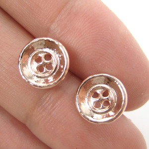 Small Round Button Stud Earrings in Light Gold