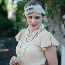 The Cate - Soft Mint Lace and Sparkling Flower Tie Headband