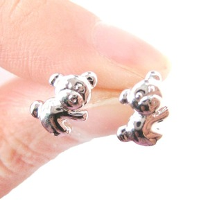 Small Koala Bear Teddy Shaped Animal Stud Earrings in Silver
