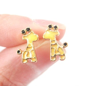 Small Giraffe Shaped Animal Themed Stud Earrings in Yellow Enamel