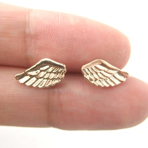 Small Angel Wings Feather Earrings in Light Bronze