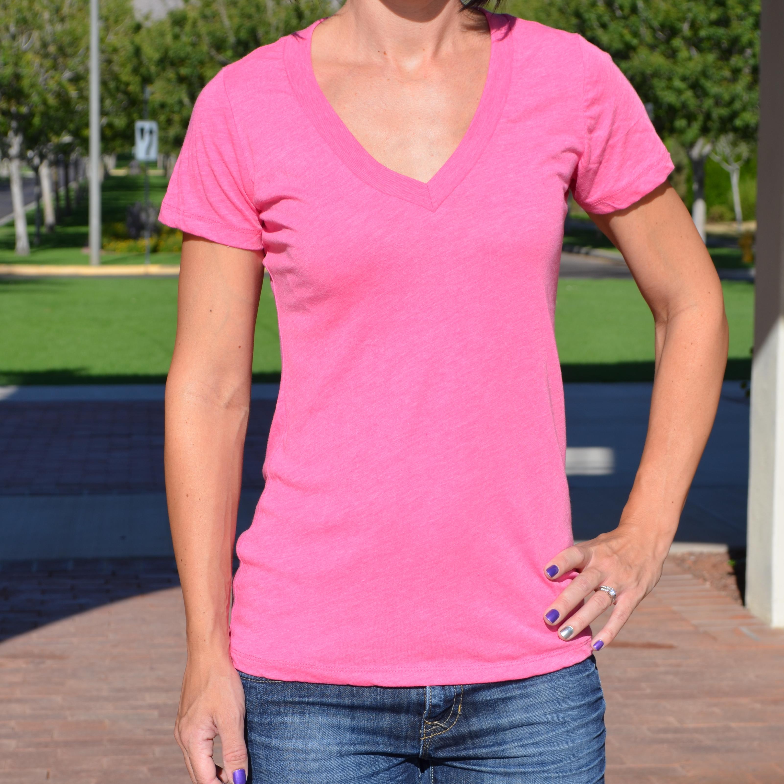 Pink V Neck T Shirt | Is Shirt