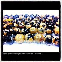 10mm Black Agate (fire treated) 96 cut