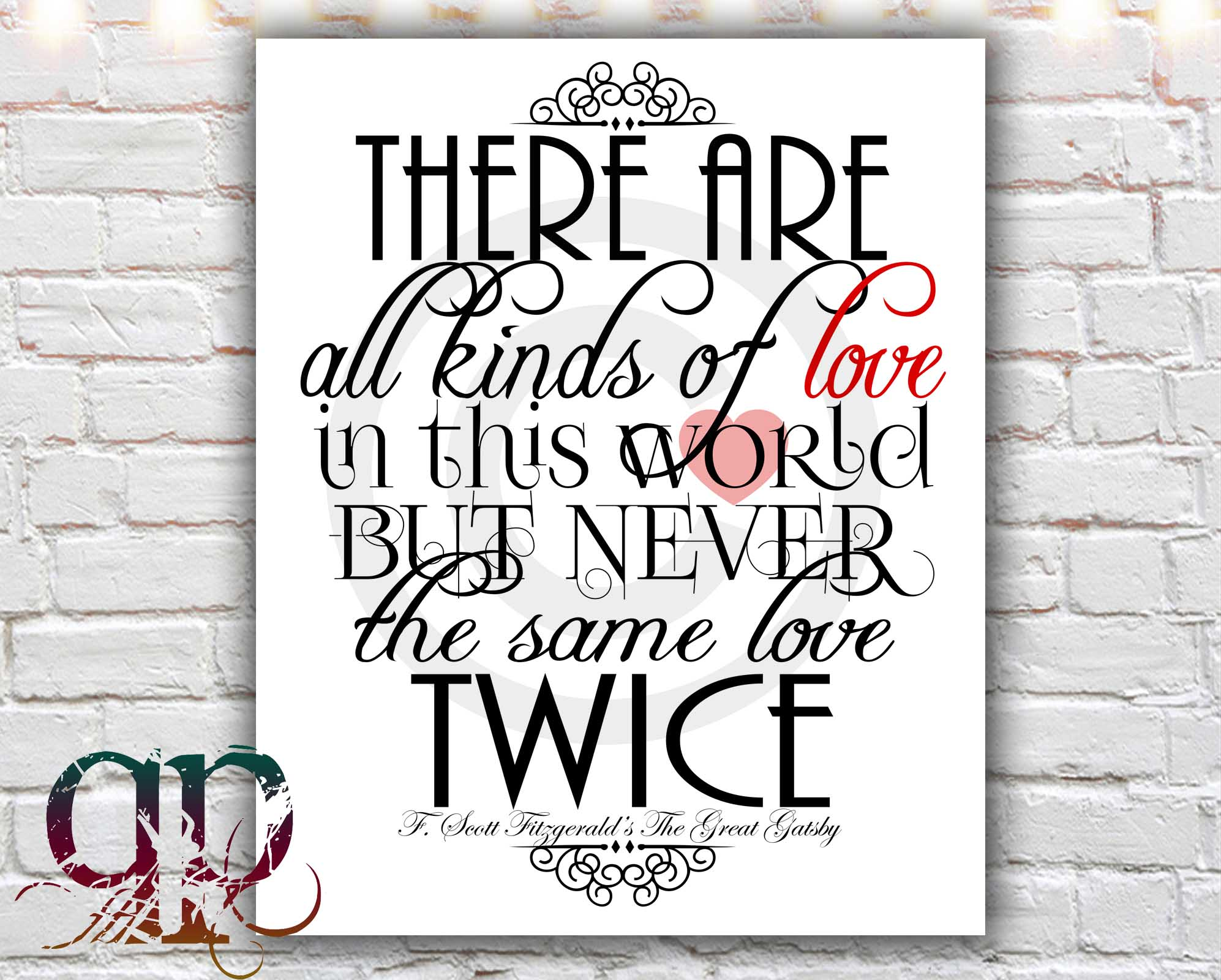 Quotes From The Great Gatsby The Same Love Twice  8 X 10 Paper Print Love Quote The Great