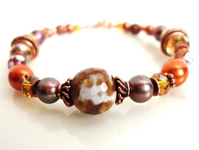B85: Orange and Brown Agate, Pearl, and Crystal Bracelet