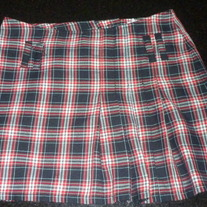 Red/Black/White Pleaded Skirt-H&M Young Size 9-10