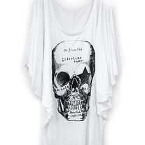 Skeleton Print Off-Shoulder Top