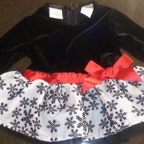 Black Velvet Dress With Snowflakes-Koala Kids Size 0-3 Months