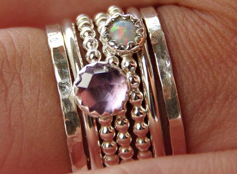opal amethyst stackable birthstones mothers rings. Black Bedroom Furniture Sets. Home Design Ideas