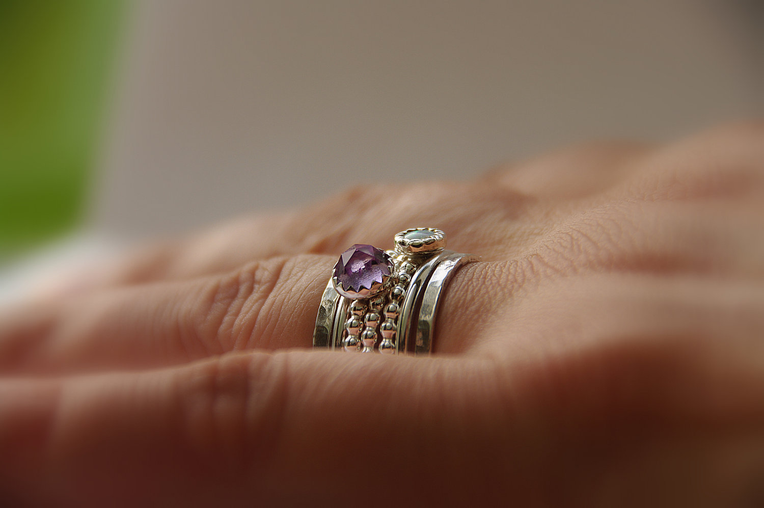 opal amethyst stackable birthstones mothers rings