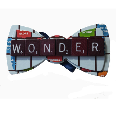 Upcycled custom word bow tie maroon