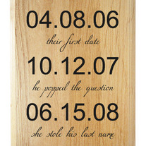 Our Special Dates Wood Plaque