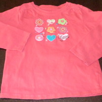 Pink LS Shirt with Flowers/Hearts-Okie Dokie Size 5T