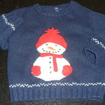 Blue Sweater with Snowman-Baby Gap Size 3T
