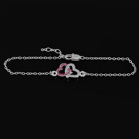 Heart to Heart Crystal bracelet -Silver
