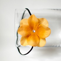 Yellow velvet flower headband