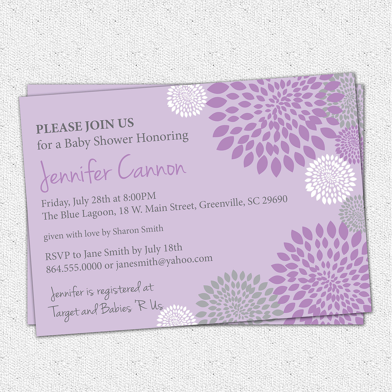 Baby shower invitations girl purple and lavender with charcoal grey baby shower invitations girl purple and lavender with charcoal grey gray accent floral modern filmwisefo
