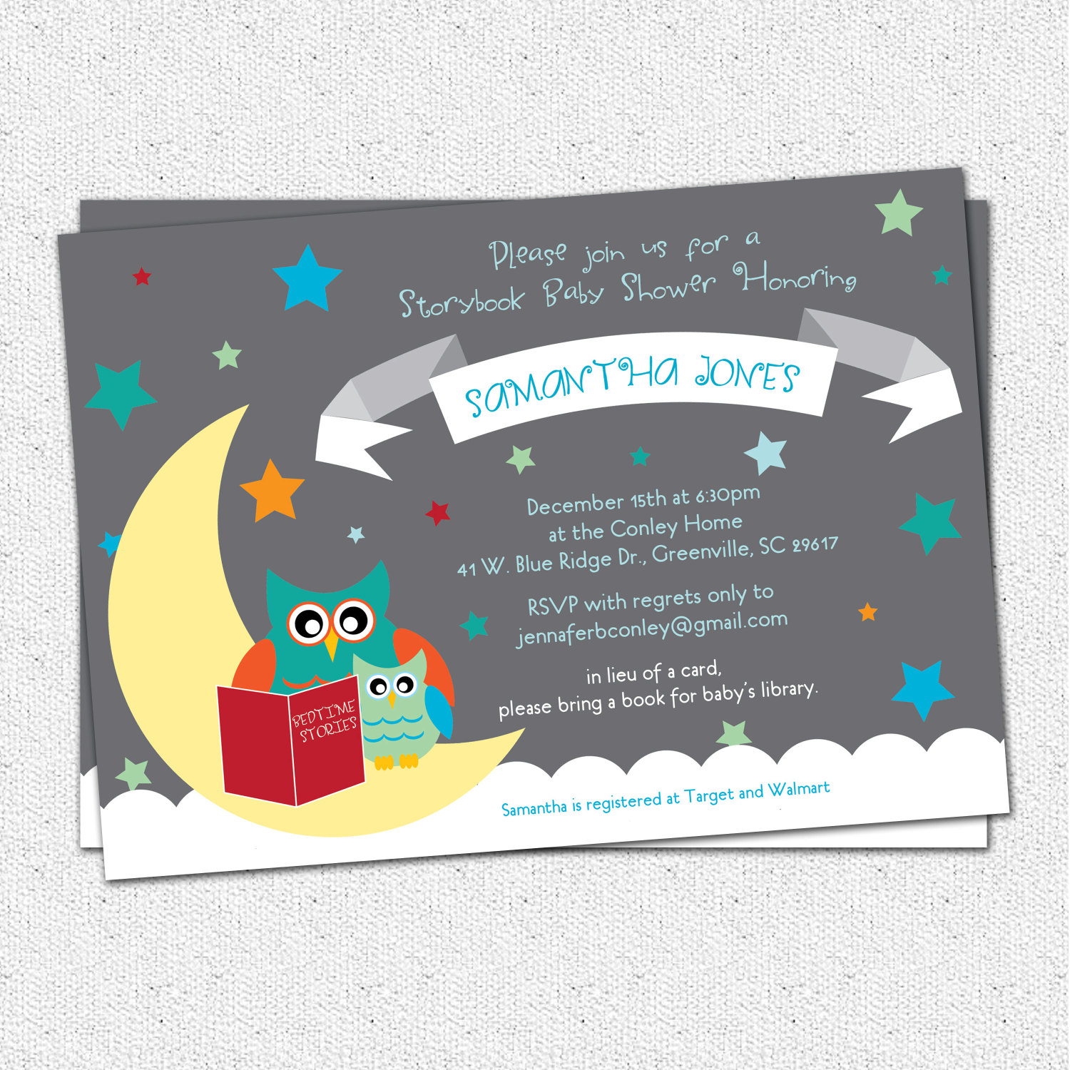 Baby Shower Invitations Story Book Themed mom and baby Owl Moon