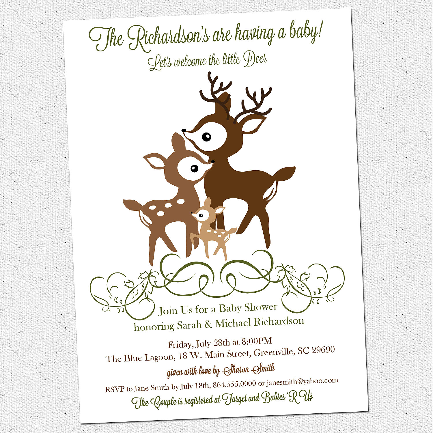 Deer Family Baby Shower Invitations, Little, Woodland, Elegant ...