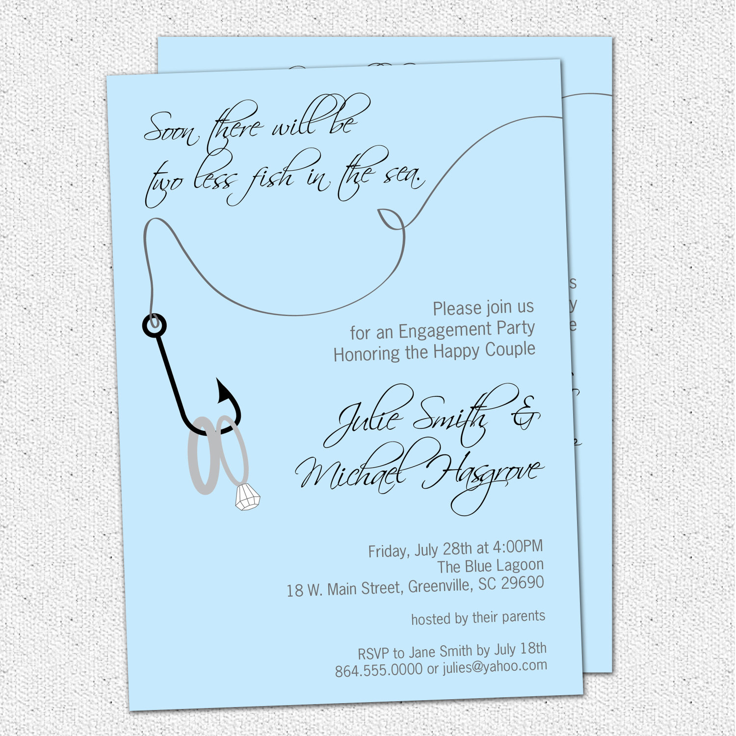 Engagement Party Invitations Two Less Fish in the Sea Rings – Fishing Party Invitations