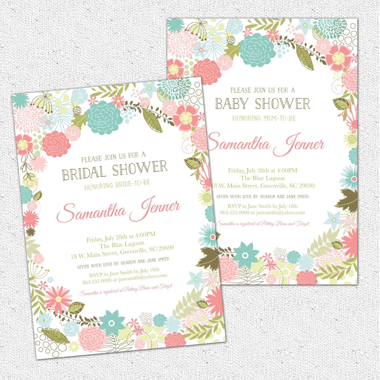 Retro Modern Flowers Bridal Baby Shower Invitations Floral