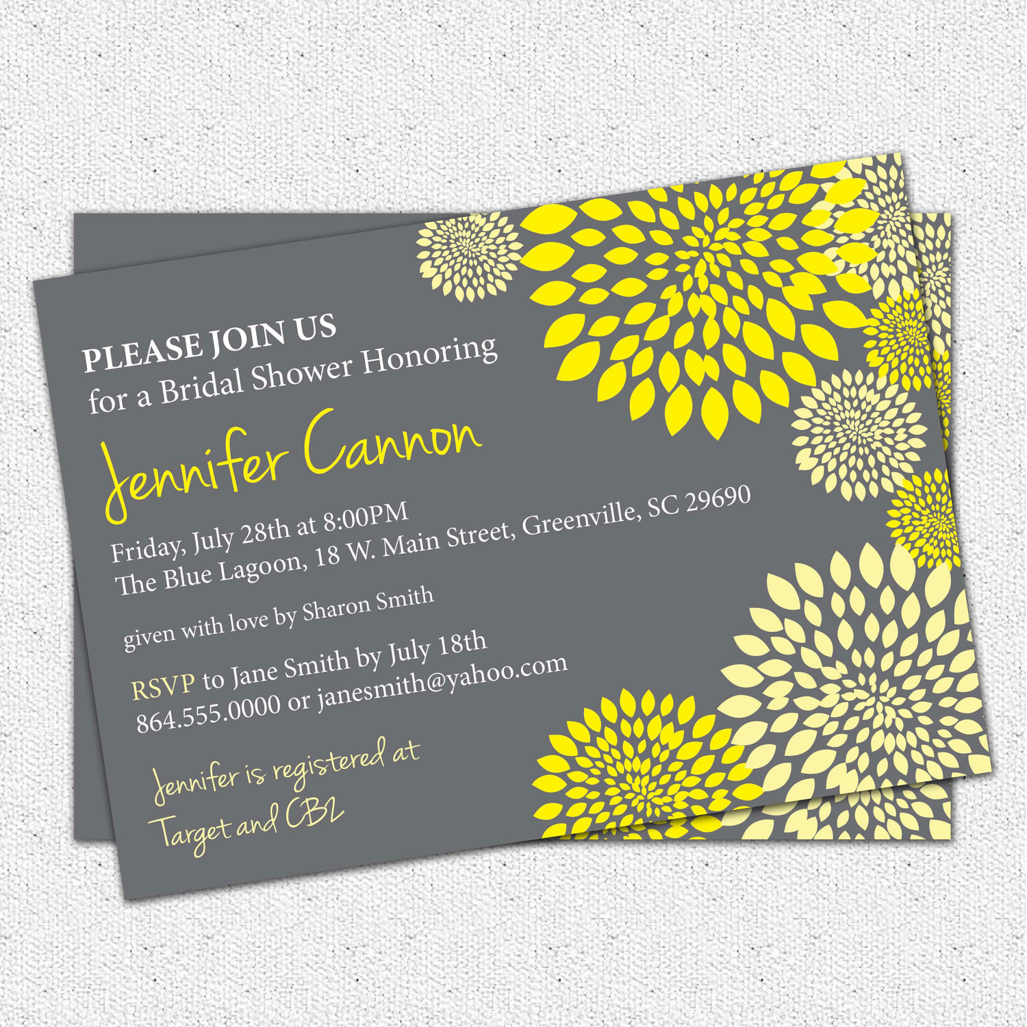 bridal shower invitations yellow and charcoal grey floral modern set of 10