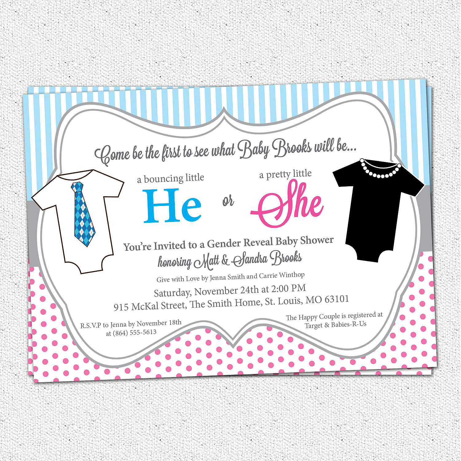 He or She Gender Reveal Baby Shower Invitations Pink and Blue