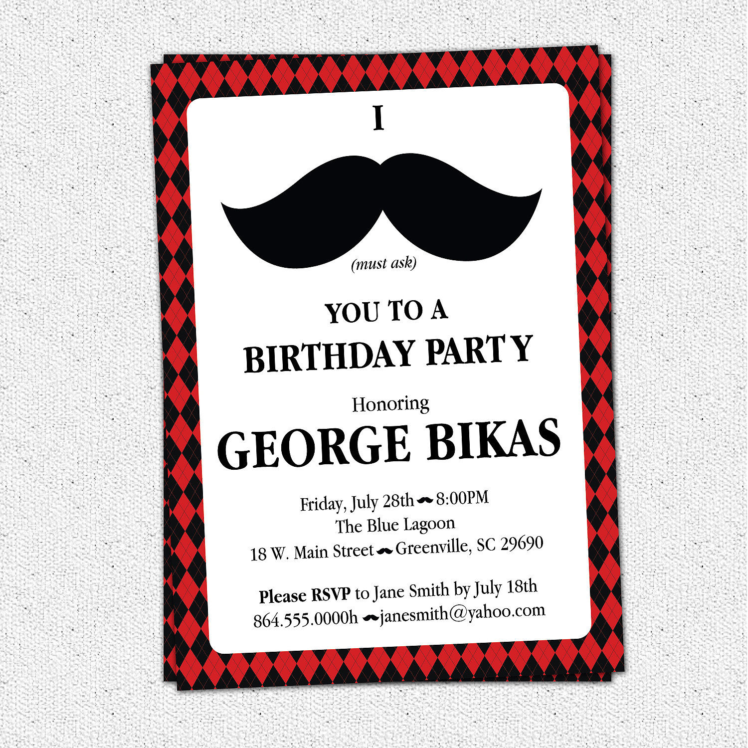 Mustache Argyle Birthday Party Bash Invitations, Manly 30th 40th 50th 60th Man's Mens, SET OF 10 ...
