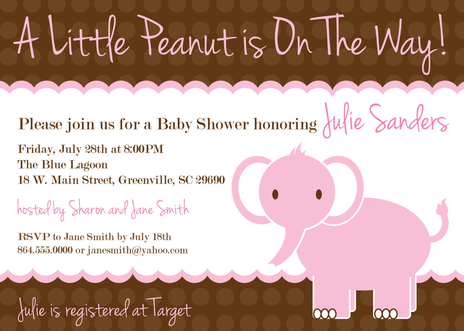 Baby Shower Invitations Girl Elephant Little Peanut Pink And