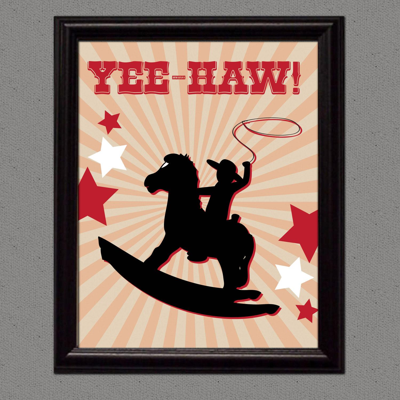 Cowboy Wall Decor Nursery : Cowboy wall art print nursery boy child printed