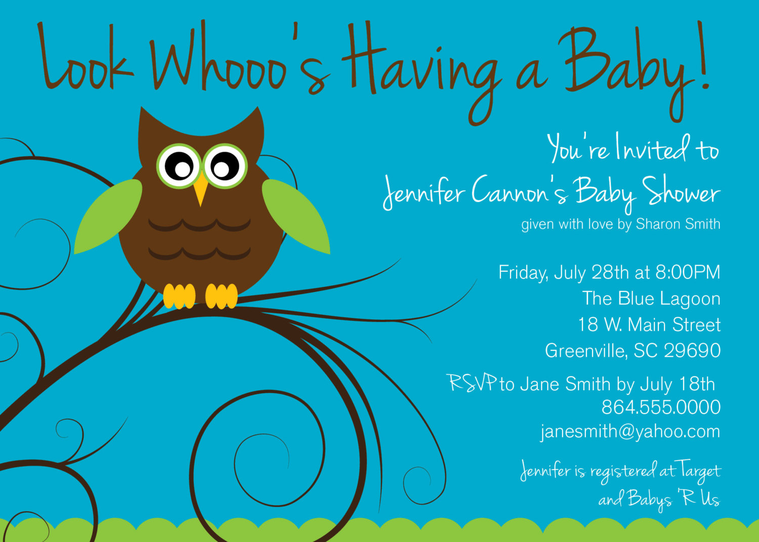 Baby Shower Invitations, Owl boy or girl gender neutral turquoise ...