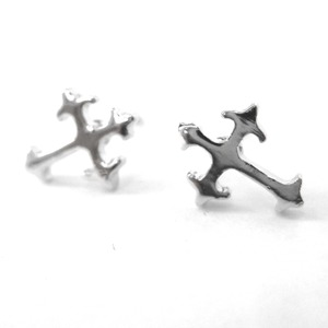 Small Fancy Cross Shaped Stud Earrings in Silver