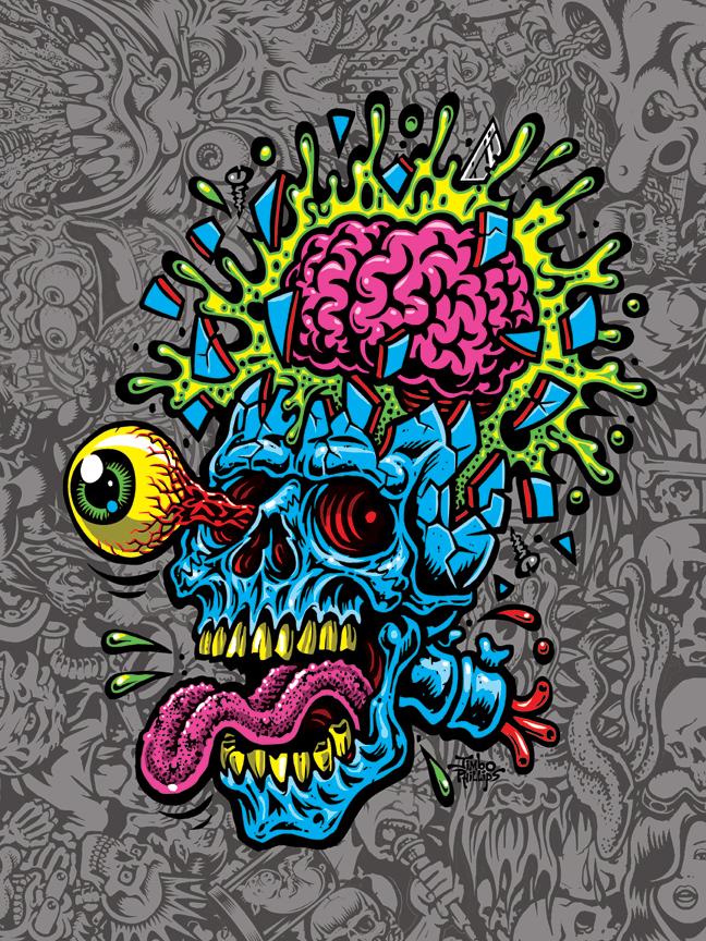 Skull Blast Print 18x24 Poster Signed 183 Jimbo Phillips