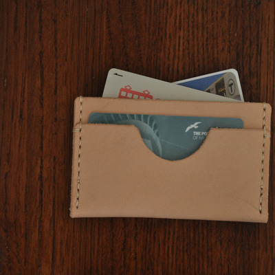 Horizontal three pocket wallet - natural leather