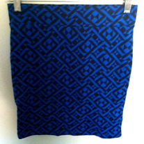 Black and Blue Design Bodycon Skirt