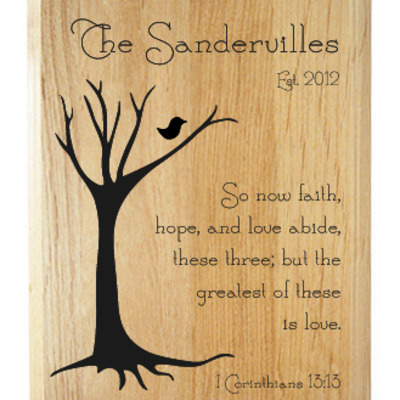 1 corinthians 13:13 family name plaque