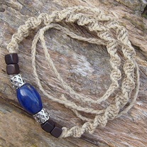 Natural Hemp Macrame Lapis Bead Choker Necklace