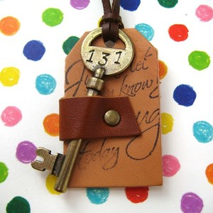 Ink Handwriting on Leather Antique Hotel Room Skeleton Key Necklace