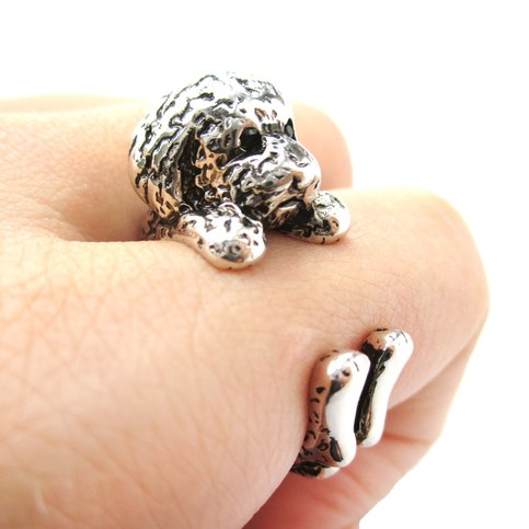 Realistic Toy Poodle Shaped Animal Wrap Ring In Shiny