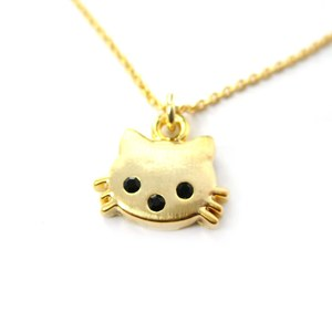Small and Pretty Kitty Cat Animal Charm Necklace in Gold