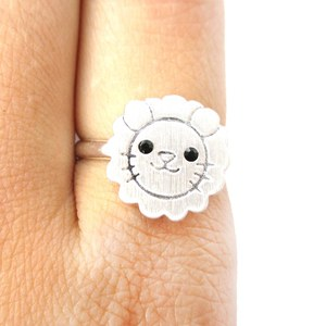 Cute Lion Face Shaped Simple Animal Jewelry Adjustable Ring in Silver