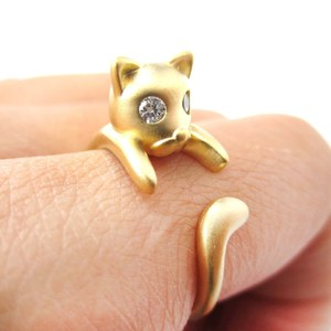 Adorable Baby Kitten Cat Shaped Animal Wrap Around Ring in Gold - Sizes 4 to 8 Available