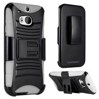 HTC One (M8) - Dual Layer, Rugged Combo Case with Kick Stand and Holster - Thumbnail 1