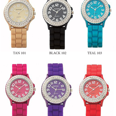 Round silicone watches w/cubic zirconia