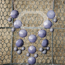 large knotiebubble necklace - charcoal w/ silver
