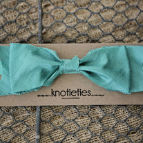 big silk knotiebow headband - aqua