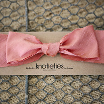 big silk knotiebow headband - salmon