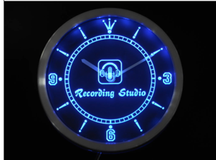 recording studio microphone neon led wall clock voxtees