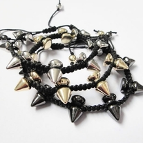 Spikes Braided bracelet - Black - Thumbnail 1